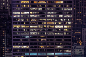 City windows at night