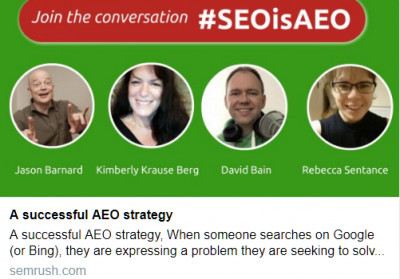Promo banner for AEO and SEO webinar.