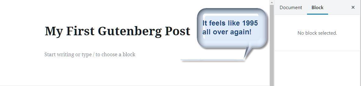 Screenshot of my first Gutenberg post.
