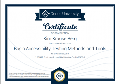 Basic Accessibility Testing Methods Certification