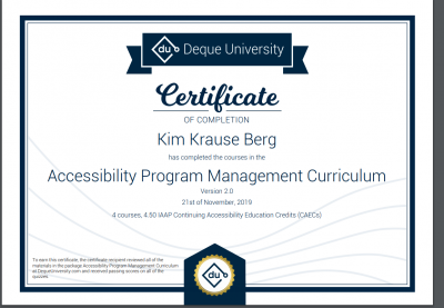 Accessibility Program Management certificate of completion by Deque University.