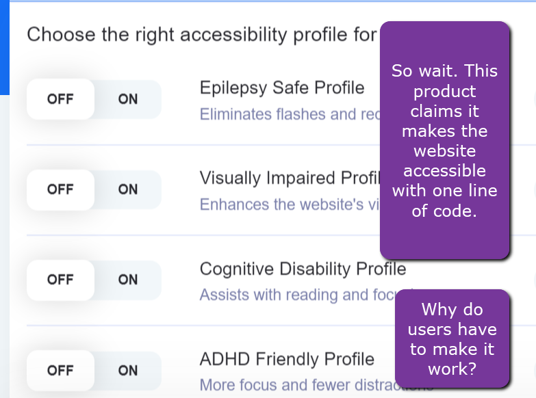 Example of an accessibility overlay that shows user choices.