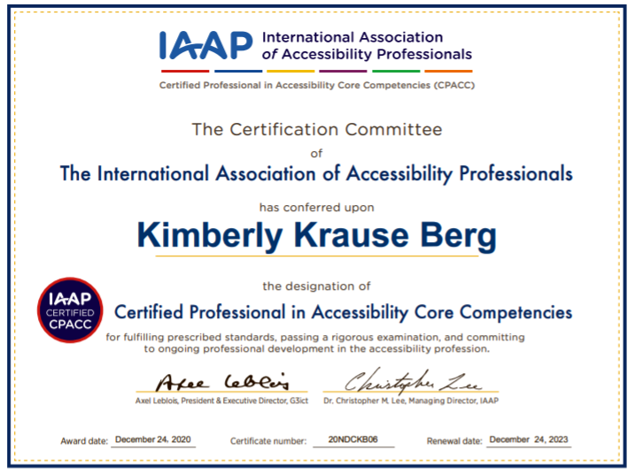 Kim Krause Berg Official CPACC Certificate