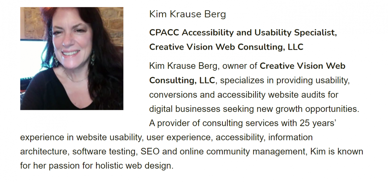 AMA Speaker promotional section of the AMA conference speaker page showing Kim Krause Berg and her bio.